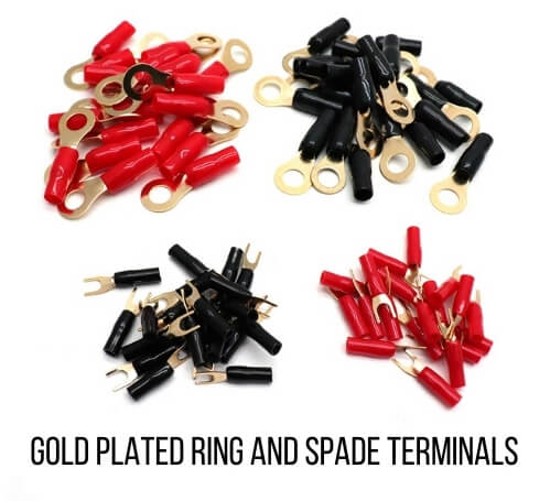 gold plated ring and spade terminals