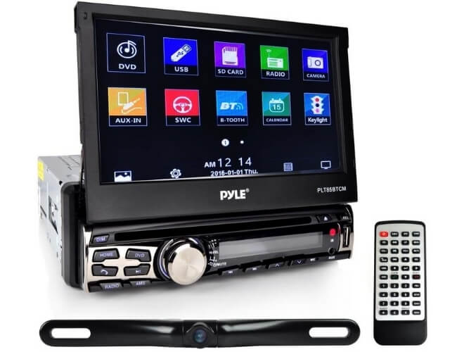 Pyle PLT85BTCM Single DIN CD/DVD Player with Retractable Touch Screen Car Stereo